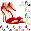 2015 형식 Women Sandals 11cm Open Toe Ankle Straps Sandals High Heels Summer Suede Pumps Wedding Sexy Shoes Women