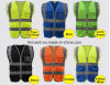 De hoge Weerspiegelende Polyester van het Vest van de Veiligheid van het Vest van het Zicht Gele Blauwe breide Weerspiegelend Vest