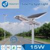 Tous dans une lumière solaire de nuit de rue de 15W DEL avec la batterie remplaçable