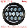 75W 7  Inch Round LED Headlight für Jeep Wrangler 4X4 4WD Auto Driving Fog Light Headlight