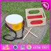 2015 Fashional musical para niños juguetes de madera de tambor, el mejor vendedor del tambor de madera de los niños juegan, Ronda de instrumentos musicales de juguete de tambor W07J033