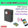 Mini Cámara de seguridad GSM, soporte de la cámara de alarma PIR red GSM y GPRS X9009
