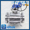 Vávula de bola da alta temperatura del muñón de Didtek F51 con el engranaje de gusano