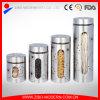 Tarro de cristal claro barato al por mayor del almacenaje del acero inoxidable con la tapa para la miel