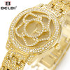 Flower Fashion Diamantes Belb Quartz Watch para senhora,
