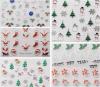 etiqueta do prego das etiquetas da arte do prego da água do floco de neve de Santa do Natal 3D