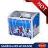 Congelador do gelado com a porta de vidro superior deslizante curvada