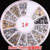 최신 Metallic Stud Gold 및 Silver Design Mix Nail Art Decoration Rivet Stickers Rivet