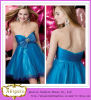 2013 популярное Short Blue Sweetheart Bowknot с Rhinestones Beaded Empire Waist Taffeta и Tulle Samples Cocktail Dress