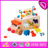 Воспитательное Toy Pull и Push Toy для Kids, Wooden Toy DIY Toy для Children, String Bead Toy Wooden Block Toy для Baby W05b074