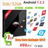 De nieuwe ModelH96 PRODoos met 64 bits van TV Google Androïde 7.1.1 van Amlogic S912 3G+32g Beste