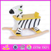 2015 tour classique sur le cheval de basculage animal de bébé de jouet, tour en bois de conception de zèbre sur le jouet animal, tour en bois d'enfant d'animaux sur le jouet W16D015