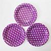7  Partie de la plaque de papier, rond violet Polka Dot les assiettes de papier