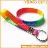 Изготовленный на заказ браслет силикона логоса с ключевым кольцом (YB-LY-PR-01)