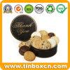Rectángulo redondo del estaño de las galletas de las galletas del metal de encargo para el almacenaje del alimento