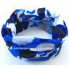 工場OEMの農産物はロゴプリントカムフラージュの青いポリエステル管状のスカーフをカスタマイズした