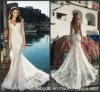 O tampão Sleeves o vestido nupcial A1625 da praia da sereia do laço do vestido de casamento
