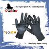 черная покрынная PU перчатка работы 13G