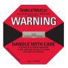 La marca del envío etiqueta la escritura de la etiqueta del impacto del Shockwatch