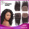 1b# Deep Wave Virgin brasiliano Human Hair 4*4 Lace Closure