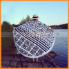 Folding su ordinazione Microfiber Soft Round Travel Swimming Beach Towel con Tassel
