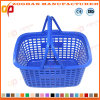 Panier de supermarché en plastique coloré avec double poignée (ZHb152)