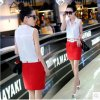 La mode de femmes vêtx la chemise Chiffon sans manche droite occasionnelle de chemisier