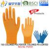 13G cor cor de casca de poliéster com revestimento de PU luvas (PU5101) com marcação, EN388, EN420, luvas de trabalho