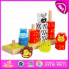 2015 fingere il giocattolo d'impilamento di legno intelligente, il giocattolo animale d'impilamento educativo, i giocattoli educativi prescolari W13D064 del giocattolo del cerchio della pila