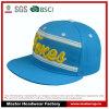 chapéu liso do Snapback da borda da tela de algodão 5-Panel com bordado 3D