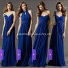 Marine-Blau-Chiffon- Partei-Abschlussball-Abend-Kleid-Schutzkappen-Hülsen-langes Brautjunfer-Kleid A9