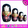 2018 Rusia colorido juguete de madera, juguetes, muñecas de madera Matryoshka bebé intelectual juguete de madera W06D038