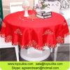 Rojo bordado Cutwork del mantel del poliester