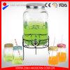 Cylinder clair Glass Beverage Dispenser avec Silver Plastic Tap 4PC Glass