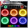 RGB Halo 7 pulgadas LED faros para Jeep Wrangler Plug and Play 7 pulgadas LED faros bombillas con función Bluetooth Luz de conducción LED