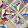 el color cristalino de 12*12m m Ab cose en los Rhinestones de la parte posterior plana para la ropa