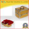 Caliente venta de aluminio de oro belleza caja de la vanidad para maquillaje