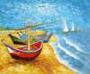 Reproduction de bateaux de pêche Blue Sea and Red Boat Canvas Oil Painting (LH-394000)