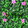 Artificial ao ar livre Green Grass Leaf Fence Wall com Flower