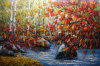 Pittura a olio Handmade cinese della tela di canapa di paesaggio di silvicoltura da Knife