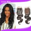 3.5*4 絹のレースのCosureボディ波のブラジルの毛のHairpiece (CL-020)