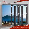 Vidrio templado doble exterior de aluminio puerta deslizante Bi-Folding