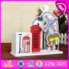 2015 деревянное Music Box с Pencil Holder, Colorful Carousel Mini Music Box для Children, ручки для вращения Music Box W02A035 Best Quality