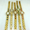 Form-kupfernes Armbanduhr-Dame-Goldkristallschmucksache-Uhr-Quarz