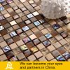 Stone Mix Crystal Glass Mosaic with Metal Treatment in Brown