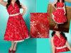 Красное шикарное платье повелительниц с поясом на сбывании