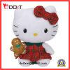 Juguetes rojos de la felpa del gatito del vestido de la tela escocesa de la Navidad de los regalos de día de fiesta hola