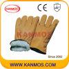 Handschoen van het Werk van de Veiligheid van de Winter van de Voering van de Boa van het Leer van de Korrel van de zweep de Industriële Volledige (12305)