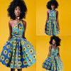 La mujer africana Imprimir Multi-Way ocasional giro plisada vestidos, vestido de estilo bohemio, de múltiples colores