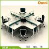 Poste de travail de bureau pour pour quatre personnes ; Poste de travail en bois de panneau (OM-CB-01-30mm)
